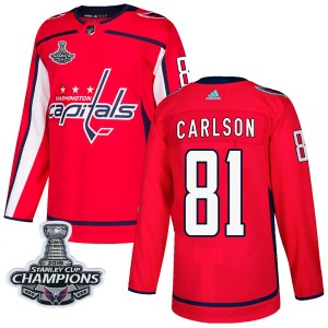 Washington Capitals Adam Carlson Official Red Adidas Authentic Adult Home 2018 Stanley Cup Champions Patch NHL Hockey Jersey