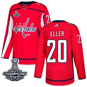 Washington Capitals Lars Eller Official Red Adidas Authentic Adult Home 2018 Stanley Cup Champions Patch NHL Hockey Jersey