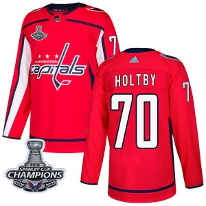 Washington Capitals Braden Holtby Official Red Adidas Authentic Adult Home 2018 Stanley Cup Champions Patch NHL Hockey Jersey