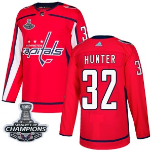 Washington Capitals Dale Hunter Official Red Adidas Authentic Adult Home 2018 Stanley Cup Champions Patch NHL Hockey Jersey