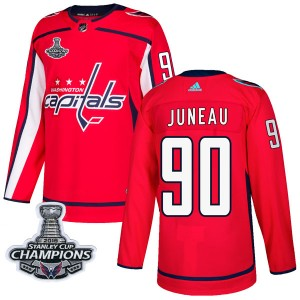 Washington Capitals Joe Juneau Official Red Adidas Authentic Adult Home 2018 Stanley Cup Champions Patch NHL Hockey Jersey