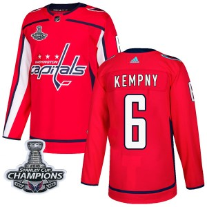 Washington Capitals Michal Kempny Official Red Adidas Authentic Adult Home 2018 Stanley Cup Champions Patch NHL Hockey Jersey
