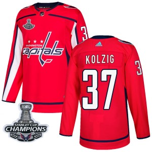 Washington Capitals Olaf Kolzig Official Red Adidas Authentic Adult Home 2018 Stanley Cup Champions Patch NHL Hockey Jersey