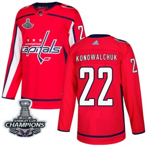 Washington Capitals Steve Konowalchuk Official Red Adidas Authentic Adult Home 2018 Stanley Cup Champions Patch NHL Hockey Jerse