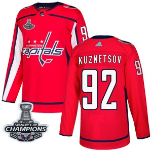 Washington Capitals Evgeny Kuznetsov Official Red Adidas Authentic Adult Home 2018 Stanley Cup Champions Patch NHL Hockey Jersey