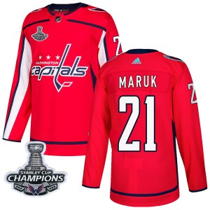 Washington Capitals Dennis Maruk Official Red Adidas Authentic Adult Home 2018 Stanley Cup Champions Patch NHL Hockey Jersey