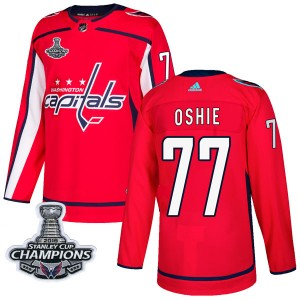Washington Capitals T.J. Oshie Official Red Adidas Authentic Adult Home 2018 Stanley Cup Champions Patch NHL Hockey Jersey