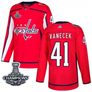 Washington Capitals Vitek Vanecek Official Red Adidas Authentic Adult Home 2018 Stanley Cup Champions Patch NHL Hockey Jersey