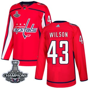 Washington Capitals Tom Wilson Official Red Adidas Authentic Adult Home 2018 Stanley Cup Champions Patch NHL Hockey Jersey