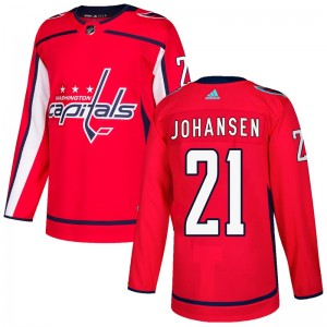 Washington Capitals Lucas Johansen Official Red Adidas Authentic Adult Home NHL Hockey Jersey
