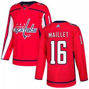 Washington Capitals Philippe Maillet Official Red Adidas Authentic Adult ized Home NHL Hockey Jersey