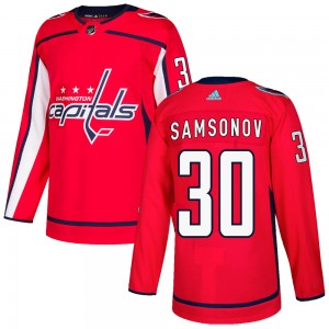 Washington Capitals Ilya Samsonov Official Red Adidas Authentic Adult Home NHL Hockey Jersey
