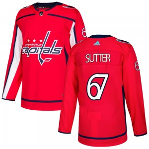 Washington Capitals Riley Sutter Official Red Adidas Authentic Adult Home NHL Hockey Jersey