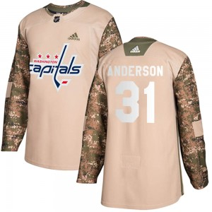 Washington Capitals Craig Anderson Official Camo Adidas Authentic Youth Veterans Day Practice NHL Hockey Jersey