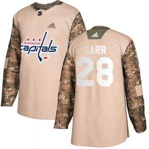Washington Capitals Daniel Carr Official Camo Adidas Authentic Youth Veterans Day Practice NHL Hockey Jersey