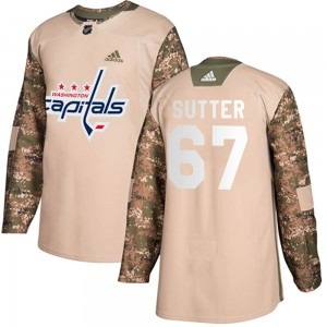 Washington Capitals Riley Sutter Official Camo Adidas Authentic Youth Veterans Day Practice NHL Hockey Jersey
