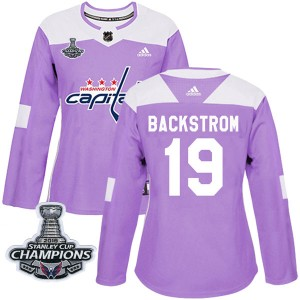 Washington Capitals Nicklas Backstrom Official Purple Adidas Authentic Women's Fights Cancer Practice 2018 Stanley Cup Champions