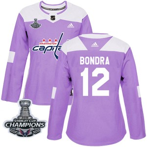 Washington Capitals Peter Bondra Official Purple Adidas Authentic Women's Fights Cancer Practice 2018 Stanley Cup Champions Patc