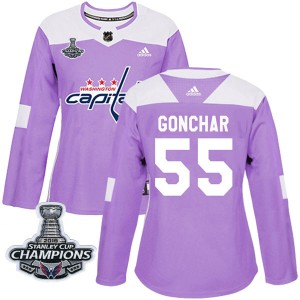 Washington Capitals Sergei Gonchar Official Purple Adidas Authentic Women's Fights Cancer Practice 2018 Stanley Cup Champions Pa