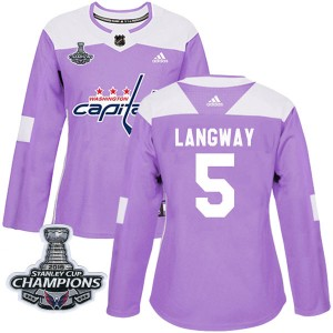 Washington Capitals Rod Langway Official Purple Adidas Authentic Women's Fights Cancer Practice 2018 Stanley Cup Champions Patch