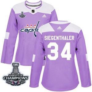 Washington Capitals Jonas Siegenthaler Official Purple Adidas Authentic Women's Fights Cancer Practice 2018 Stanley Cup Champion