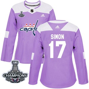 Washington Capitals Chris Simon Official Purple Adidas Authentic Women's Fights Cancer Practice 2018 Stanley Cup Champions Patch