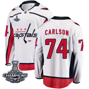 Washington Capitals John Carlson Official White Fanatics Branded Breakaway Adult Away 2018 Stanley Cup Champions Patch NHL Hocke