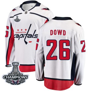 Washington Capitals Nic Dowd Official White Fanatics Branded Breakaway Adult Away 2018 Stanley Cup Champions Patch NHL Hockey Je