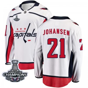 Washington Capitals Lucas Johansen Official White Fanatics Branded Breakaway Adult Away 2018 Stanley Cup Champions Patch NHL Hoc
