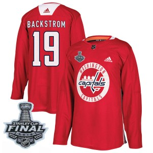 Washington Capitals Nicklas Backstrom Official Red Adidas Authentic Youth Practice 2018 Stanley Cup Final Patch NHL Hockey Jerse
