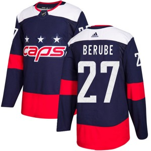 Washington Capitals Craig Berube Official Navy Blue Adidas Authentic Adult 2018 Stadium Series NHL Hockey Jersey