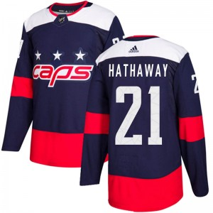 Washington Capitals Garnet Hathaway Official Navy Blue Adidas Authentic Adult 2018 Stadium Series NHL Hockey Jersey
