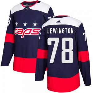 Washington Capitals Tyler Lewington Official Navy Blue Adidas Authentic Adult ized 2018 Stadium Series NHL Hockey Jersey
