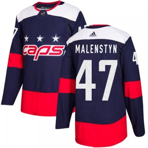 Washington Capitals Beck Malenstyn Official Navy Blue Adidas Authentic Adult ized 2018 Stadium Series NHL Hockey Jersey