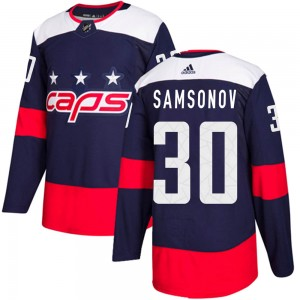 Washington Capitals Ilya Samsonov Official Navy Blue Adidas Authentic Adult 2018 Stadium Series NHL Hockey Jersey