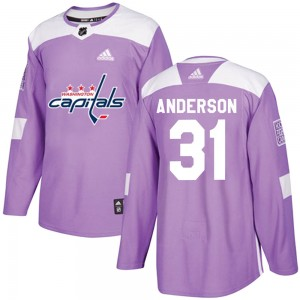 Washington Capitals Craig Anderson Official Purple Adidas Authentic Adult Fights Cancer Practice NHL Hockey Jersey