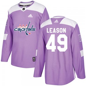 Washington Capitals Brett Leason Official Purple Adidas Authentic Adult Fights Cancer Practice NHL Hockey Jersey