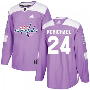 Washington Capitals Connor McMichael Official Purple Adidas Authentic Adult Fights Cancer Practice NHL Hockey Jersey