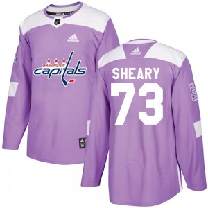 Washington Capitals Conor Sheary Official Purple Adidas Authentic Adult Fights Cancer Practice NHL Hockey Jersey