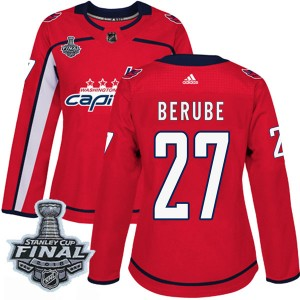 Washington Capitals Craig Berube Official Red Adidas Authentic Women's Home 2018 Stanley Cup Final Patch NHL Hockey Jersey