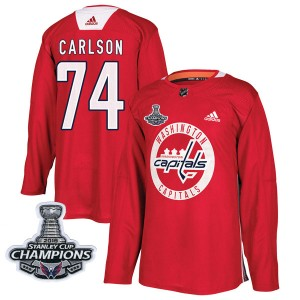 Washington Capitals John Carlson Official Red Adidas Authentic Adult Practice 2018 Stanley Cup Champions Patch NHL Hockey Jersey
