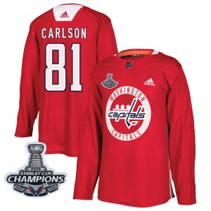Washington Capitals Adam Carlson Official Red Adidas Authentic Adult Practice 2018 Stanley Cup Champions Patch NHL Hockey Jersey