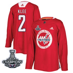 Washington Capitals Ken Klee Official Red Adidas Authentic Adult Practice 2018 Stanley Cup Champions Patch NHL Hockey Jersey
