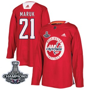 Washington Capitals Dennis Maruk Official Red Adidas Authentic Adult Practice 2018 Stanley Cup Champions Patch NHL Hockey Jersey