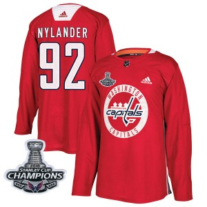 Washington Capitals Michael Nylander Official Red Adidas Authentic Adult Practice 2018 Stanley Cup Champions Patch NHL Hockey Je