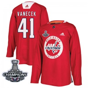 Washington Capitals Vitek Vanecek Official Red Adidas Authentic Adult Practice 2018 Stanley Cup Champions Patch NHL Hockey Jerse