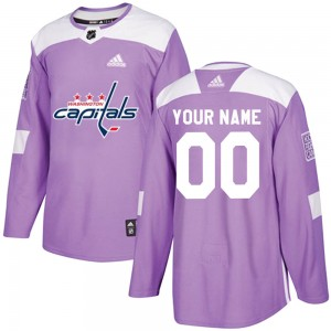 Washington Capitals Custom Official Purple Adidas Authentic Youth Fights Cancer Practice NHL Hockey Jersey