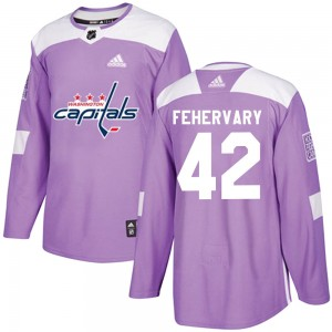 Washington Capitals Martin Fehervary Official Purple Adidas Authentic Youth Fights Cancer Practice NHL Hockey Jersey