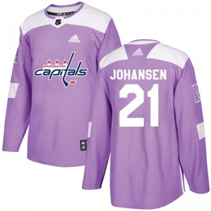 Washington Capitals Lucas Johansen Official Purple Adidas Authentic Youth Fights Cancer Practice NHL Hockey Jersey
