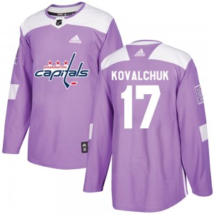 Washington Capitals Ilya Kovalchuk Official Purple Adidas Authentic Youth ized Fights Cancer Practice NHL Hockey Jersey